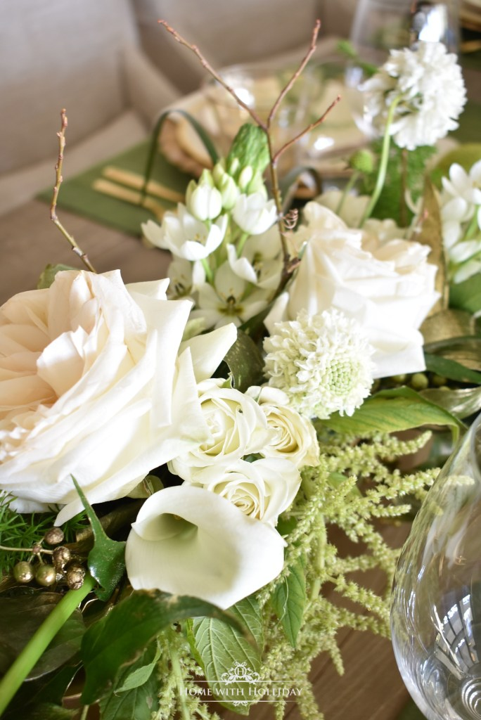 Centerpiece for a Green and Gold Easter Table Setting - Home with Holliday