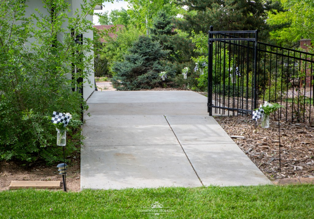 Walkway for ourBlack and White Outdoor Graduation Party - Home with Holliday