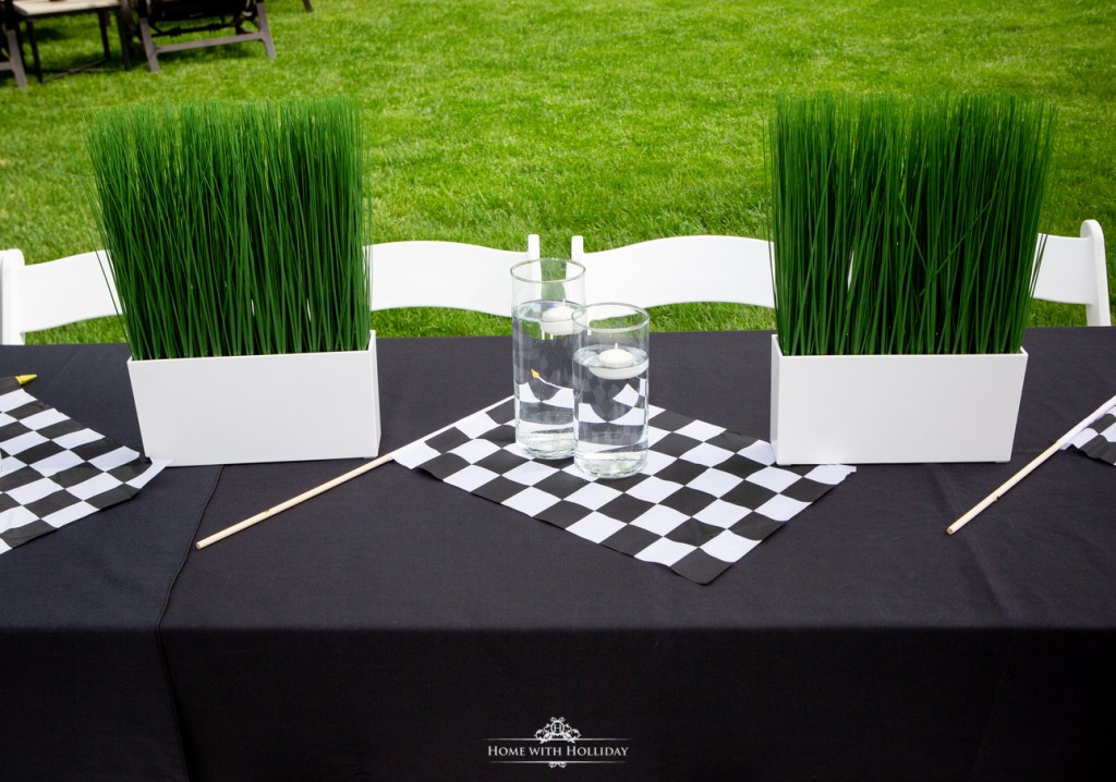 Table Decor for our Black and White Outdoor Graduation Party - Home with Holliday