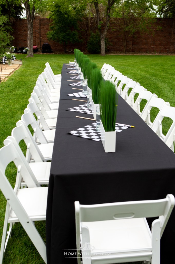 The Table for our Black and White Outdoor Graduation Party - Home with Holliday