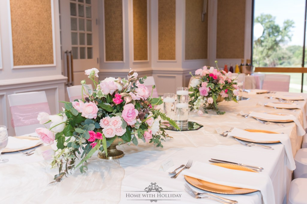 Blush Pink and Gold Bridesmaids Luncheon Table Setting - Home with Holliday
