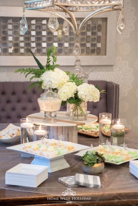 Modern Rustic Bridal Shower Dessert Table - Home with Holliday