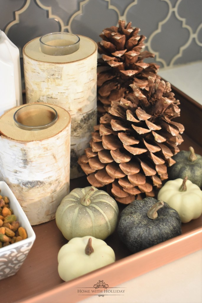 Simple Fall Vignette featuring Nuts and Snacks - Home with Holliday
