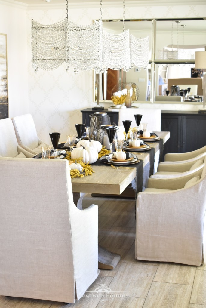 Rustic Harvest Gold Fall Tablescape with Black & White - Home with Holliday