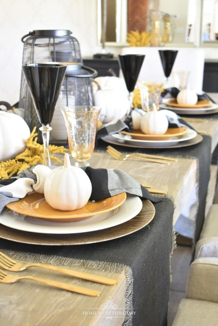 Rustic Harvest Gold Fall Tablescape with Black & White Accents - Home with Holliday