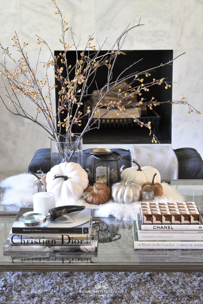 Elegant Warm and Cozy Fall Coffee Table Styling