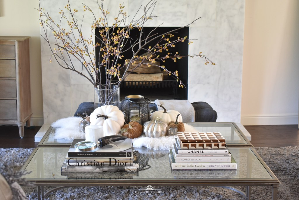 Warm and Cozy Fall Coffee Table Styling in Living Room