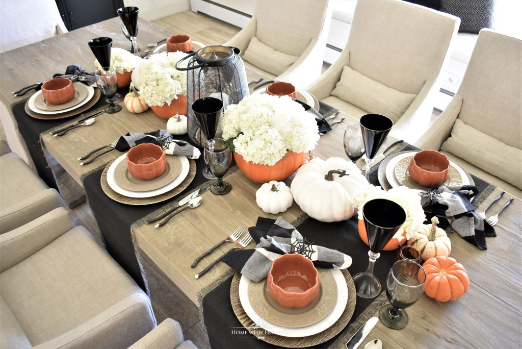 Centerpiece for an Elegant Halloween Tablescape with Fresh Hydrangeas - Home with Holliday