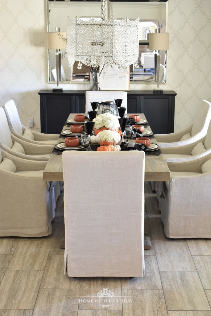 An Elegant Halloween Tablescape with Fresh Hydrangeas - Home with Holliday