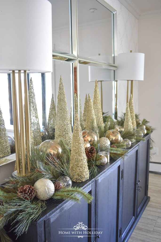 Simple Green and Gold Elegant Christmas Cone Tree Centerpiece - Home with Holliday