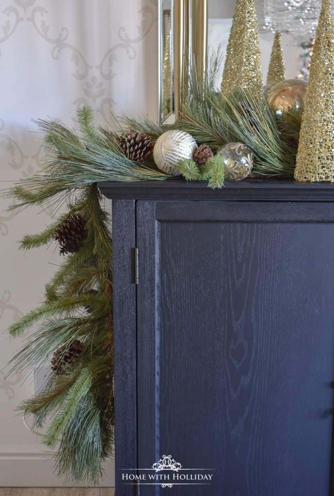 Details of a Green and Gold Elegant Christmas Cone Tree Centerpiece - Home with Holliday