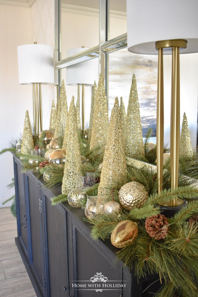 An Easy Green and Gold Elegant Christmas Cone Tree Centerpiece - Home with Holliday
