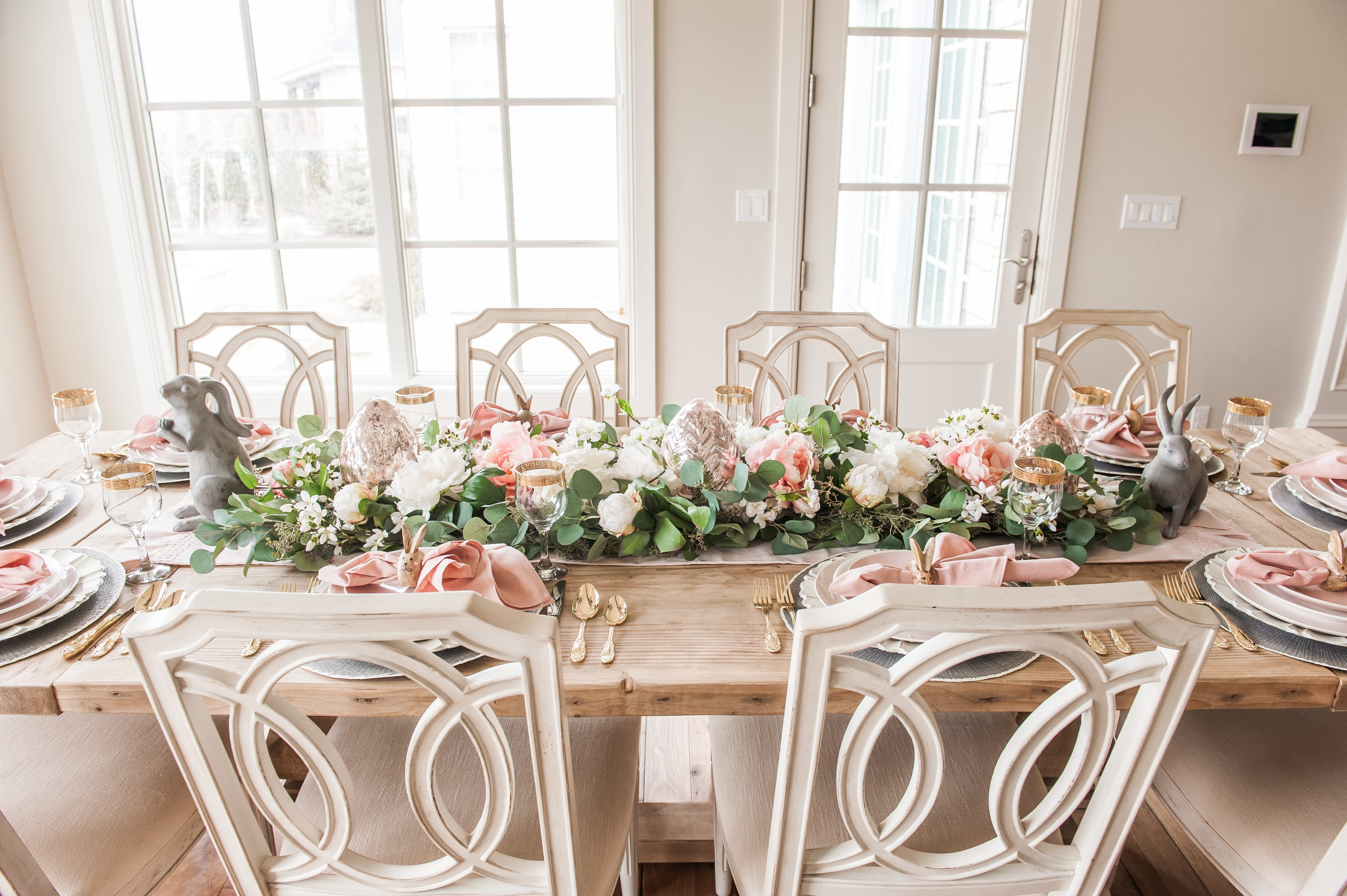 pink and gray easter table setting