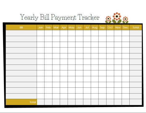 Free printable - Modern yearly bill payment tracker