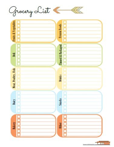 Contemporary theme, Grocery Shopping List, free printable