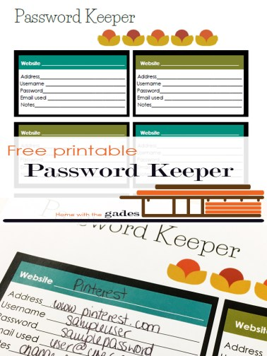 Modern theme - Password Keeper, free printable