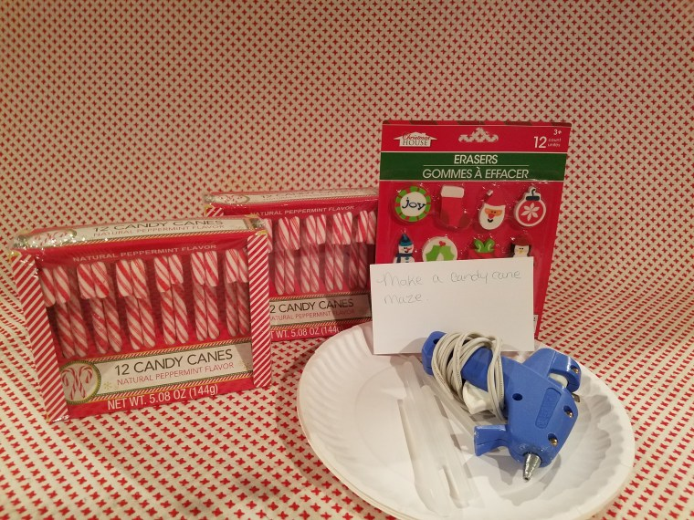 December Dollar Tree STEM Boxes: Make a candy cane maze