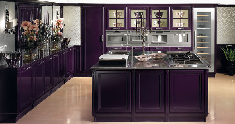 The Kitchen In Purple Contemporary Luxury And
