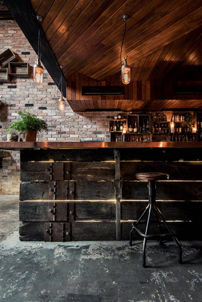 Donnys Bar industrial design with rustic accents by
