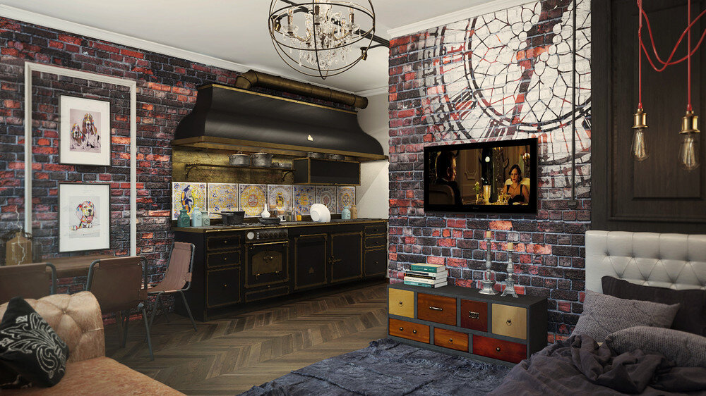 London Sky eclectic 32 Sqm studio apartment in London