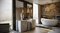 Modern bathroom by Paul Vetrov: wood, stone and shadows