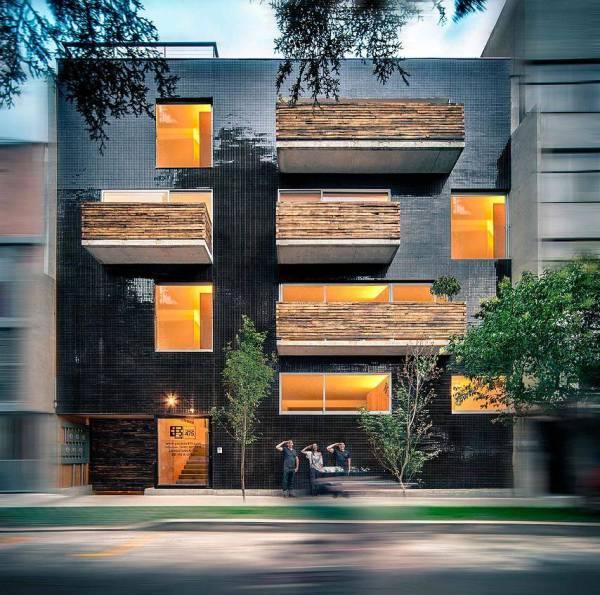 Apartment Building Black-reflective Square