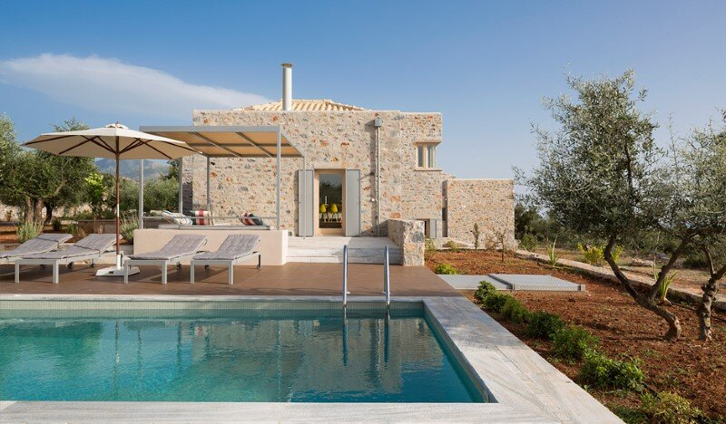 Greek Villa Elements of the Historic Houses into a Modern Context