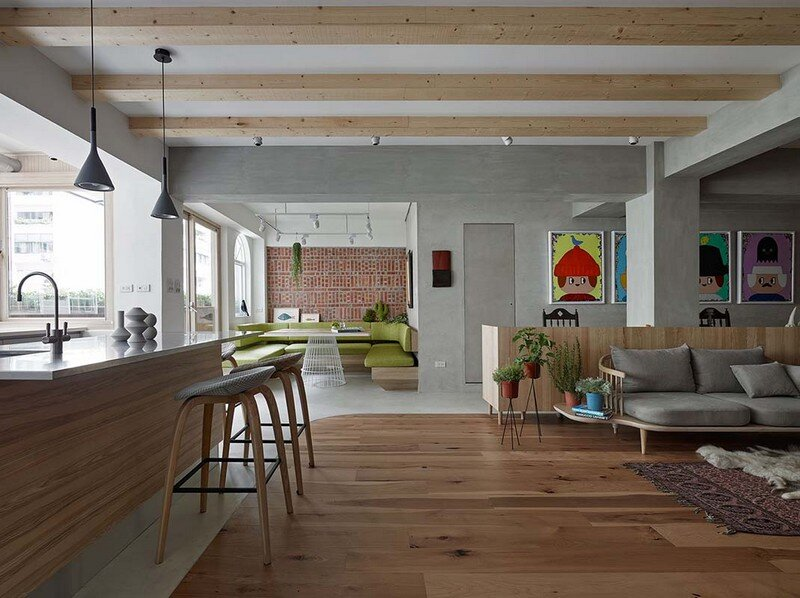 Taipei Open Flat  Wood Redbrick and Concrete for a
