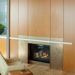 Oak Chair Rail Patio Furniture Lounge High-rise Apartment With Floor-to-ceiling Windows Overlooking Downtown Seattle
