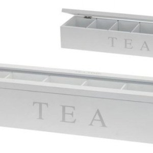6 COMPARTMENT WHITE WOODEN TEA BOX