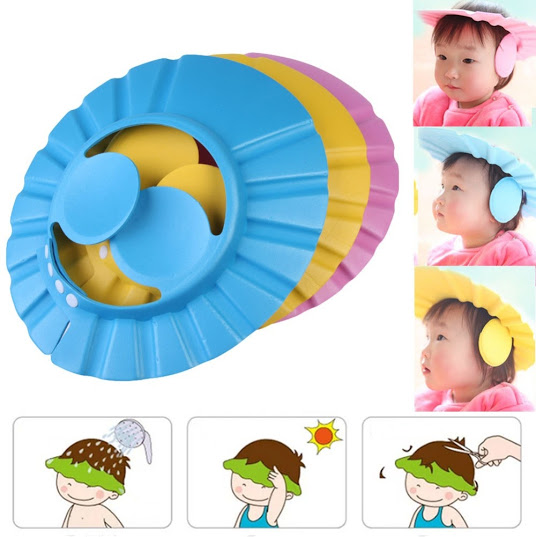 4204414c193 ADJUSTABLE BABY SHOWER CAP WITH EAR SHIELD - Home Worth