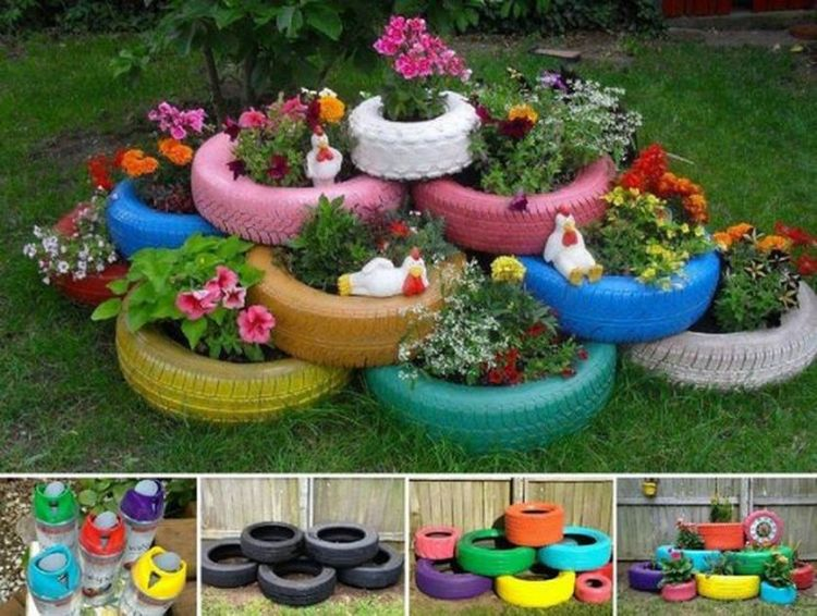 Diy recycle and upcycle for garden landscape 15 (source pinterest.com)