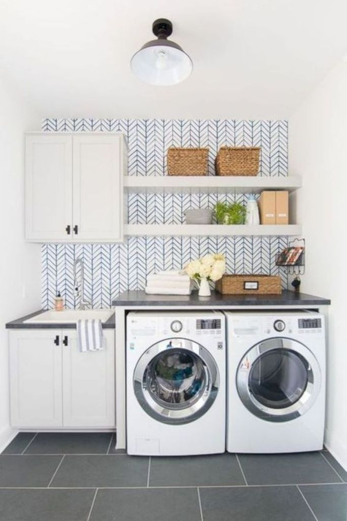 Laundry room storage with hanging shelves 1 (source pinterest.com)