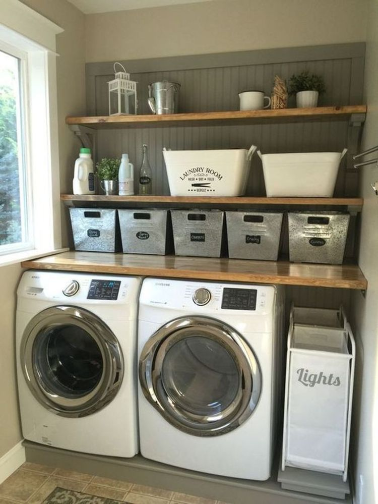 Laundry room storage with hanging shelves 2 (source pinterest.com)