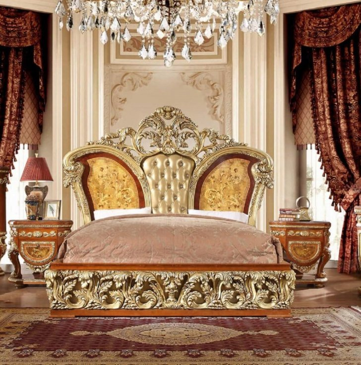 luxury king bedroom set 3 psc gold curved wood hd 8024 homey design classic