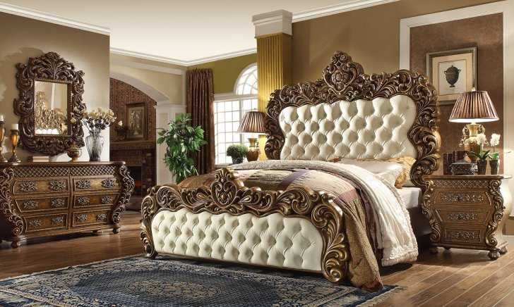 traditional california king bedroom set 5 pcs in brown leather traditional style homey design hd 8011