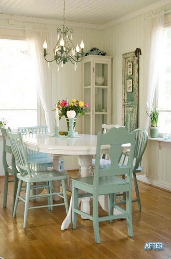 shabby chic living room chairs wedding poland 50 dining ideas that every girl will love 2018 inviting in white and green
