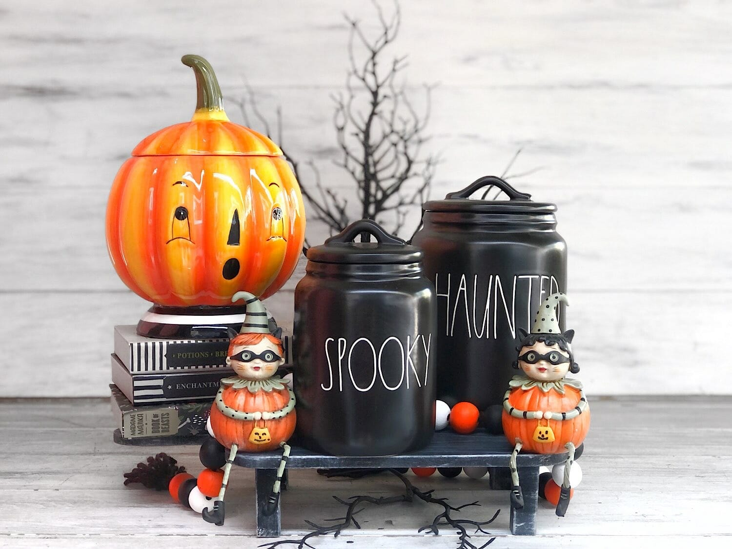 pumpkin and canister display