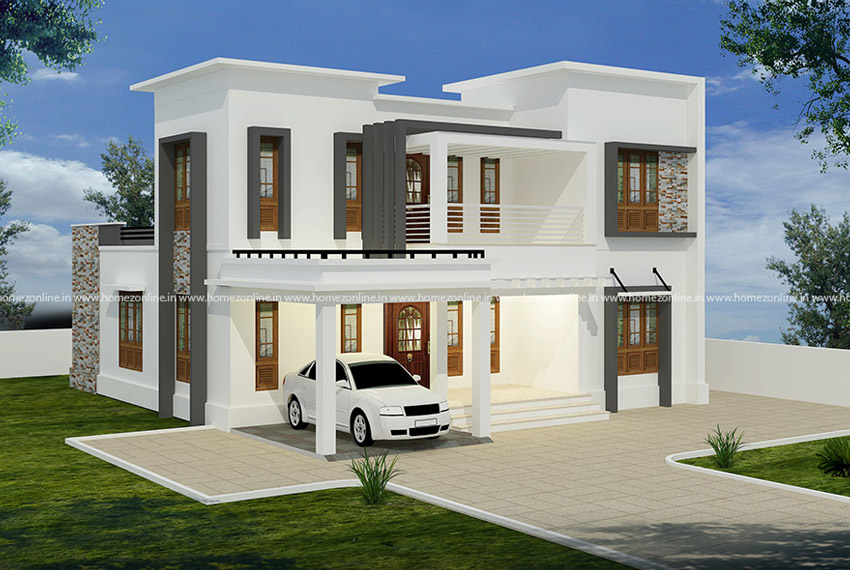 Flat Roof Design Plan With Attached Porch