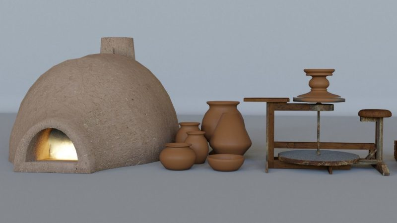 3D model Baked clay pots earthenware and equipments