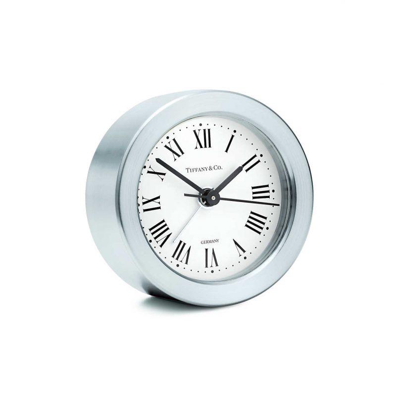 Round alarm clock in nickel. | Tiffany & Co.