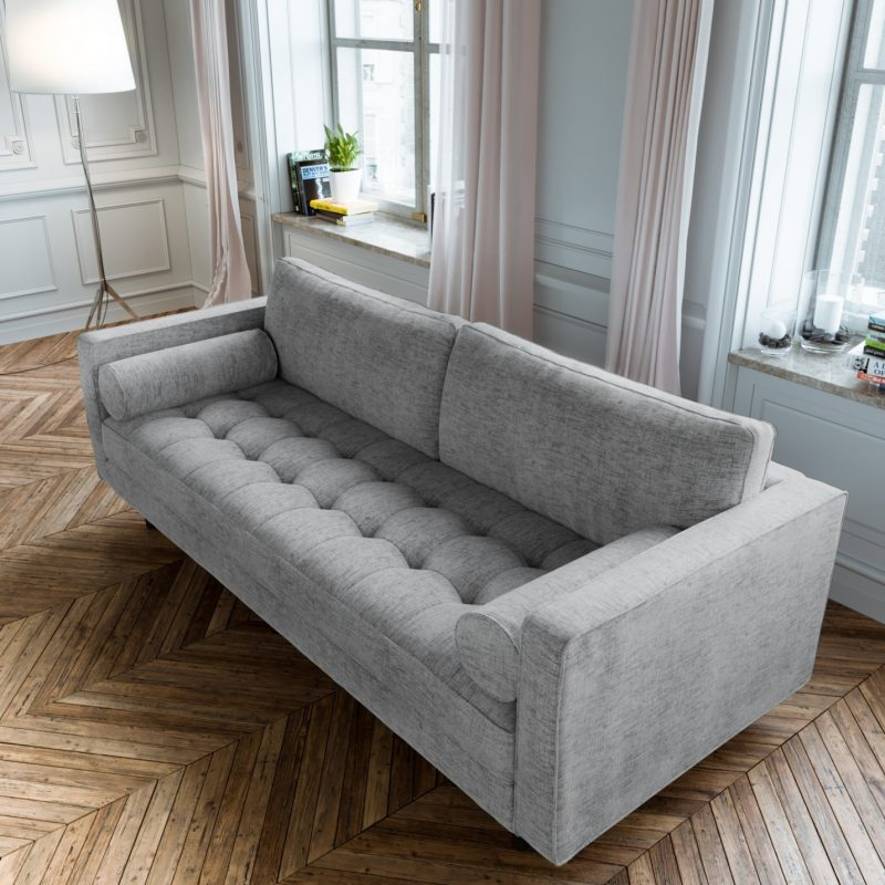 Scandormi Modern Sofa: Grey mid-century tufted couch | Expand Furniture -  Folding Tables, Smarter Wall Beds, Space Savers