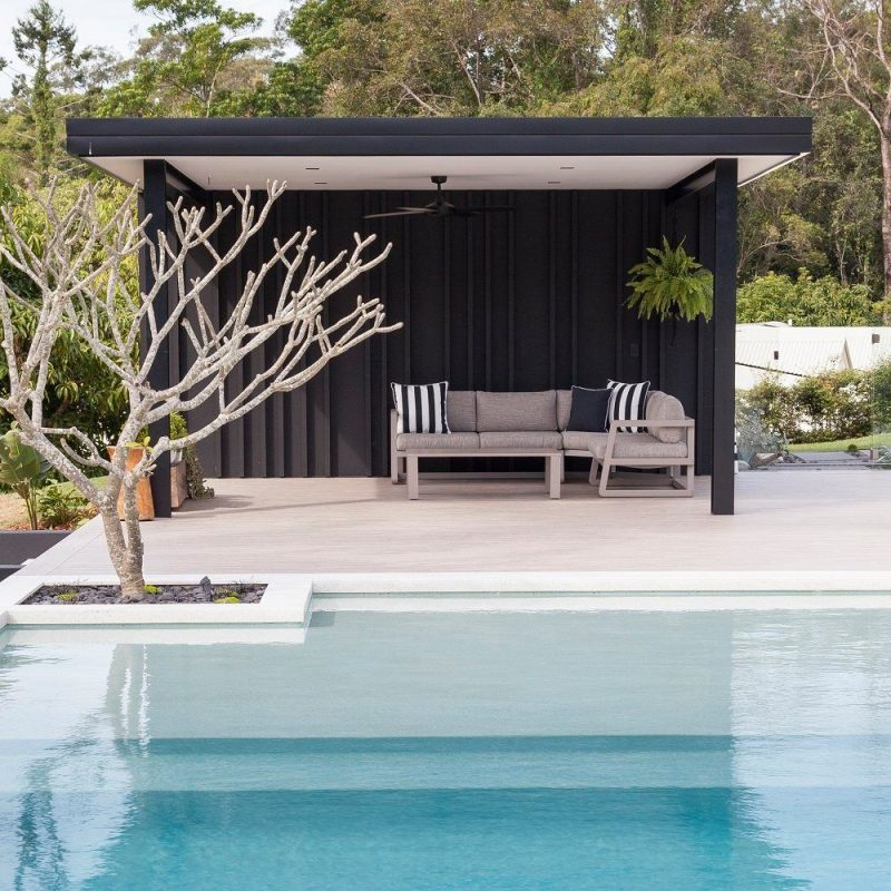 Black and White Pool Cabana - Black Panelling | Pool house ideas backyards, Pool gazebo, Simple pool