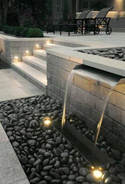 Landscaping And Outdoor Building , Modern Backyard Waterfalls : Pondless  Modern Backy… | Water features in the garden, Waterfalls backyard, Exterior  lighting design