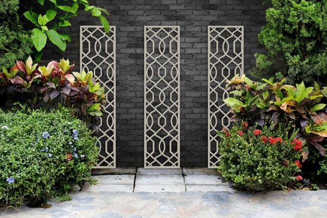 Screen With Envy Garden Trellis - Helix design (Cream): Amazon.co.uk: Garden & Outdoors