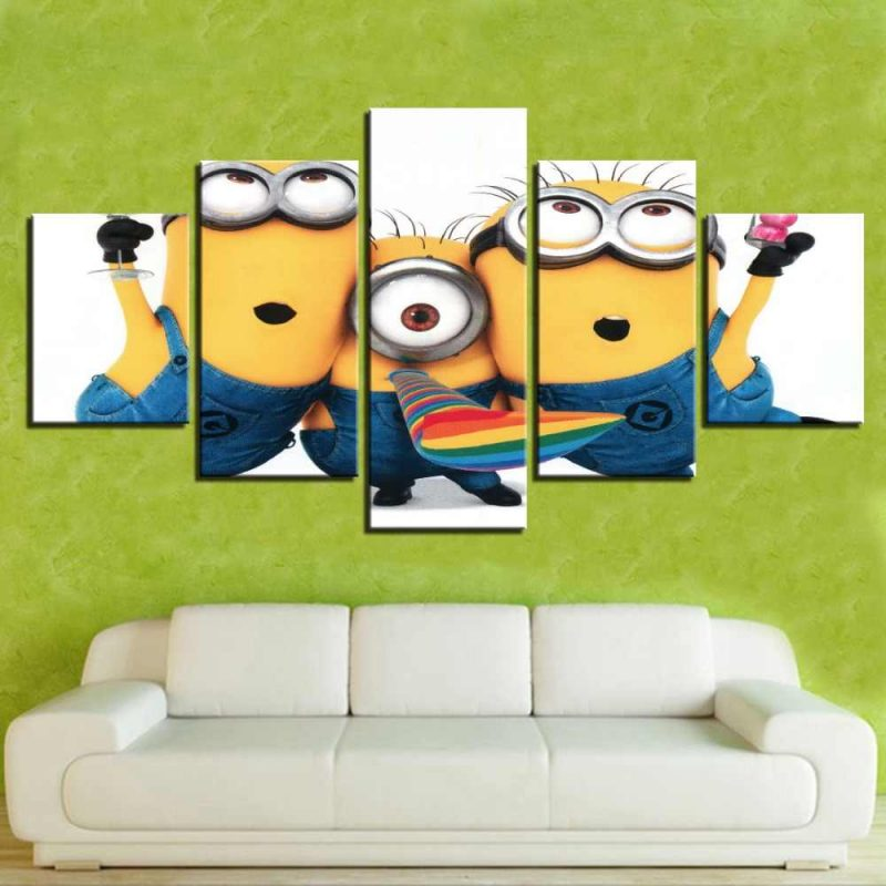 5 Panel Despicable Me Minions Cartoon Movie Poster Canvas Printed Painting  For Living Room Wall Art Decor Picture Artwork Poster|Painting &  Calligraphy| - AliExpress