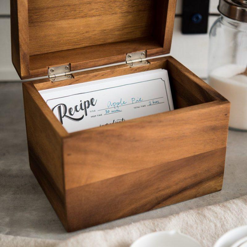 Acacia Recipe Box | Recipe box wooden, Handmade wooden boxes, Recipe box diy