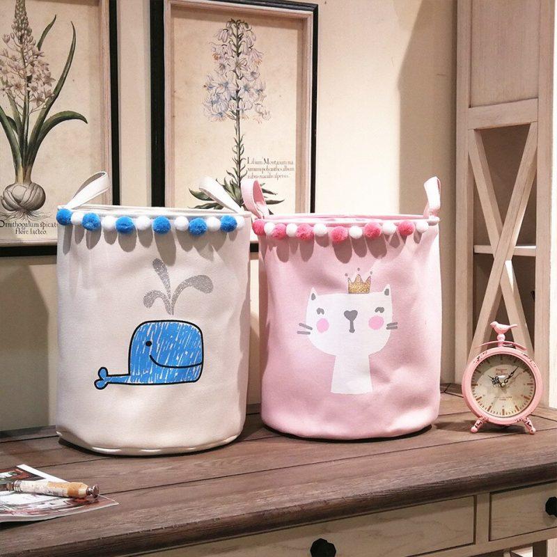 Cartoon Fabric Laundry Basket DIY Foldable Desktop Storage Bag Washing  Organizer Large Capacity Sundries Toy Bucket Home Decor|Storage Baskets| -  AliExpress