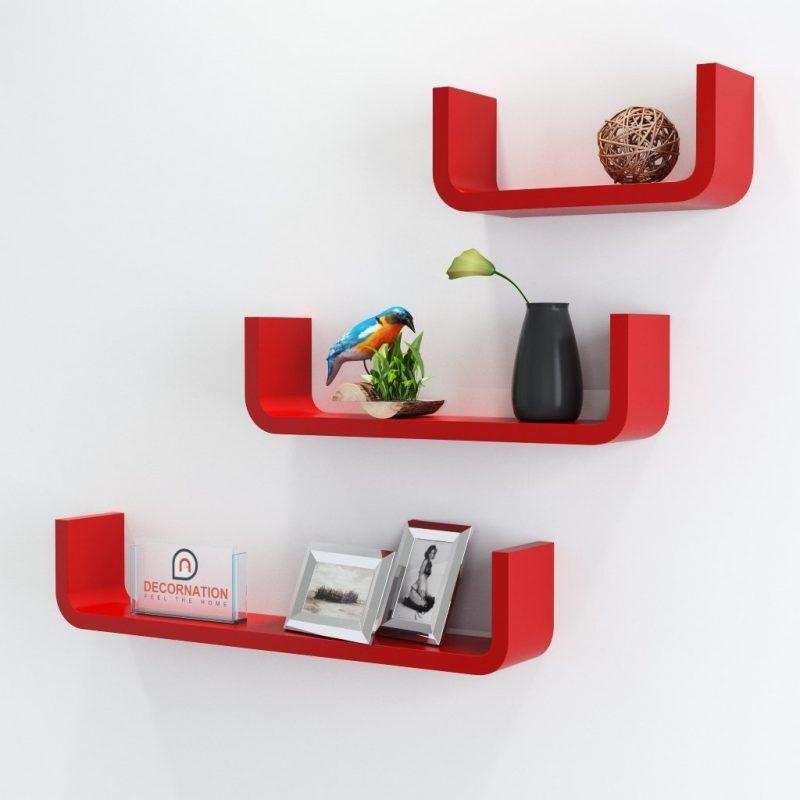 Floating Wall Shelf Set of 3 'U' Shape Round Corner Wall Racks - Red