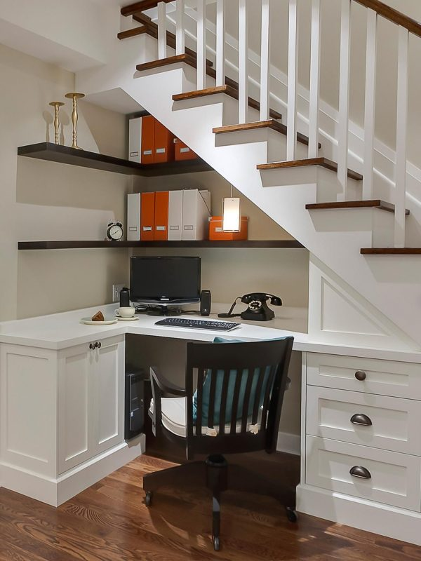 office under the stairs | Home remodeling, Basement remodeling